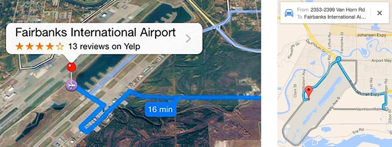 Apple Maps. Выезд на ВПП на личном авто