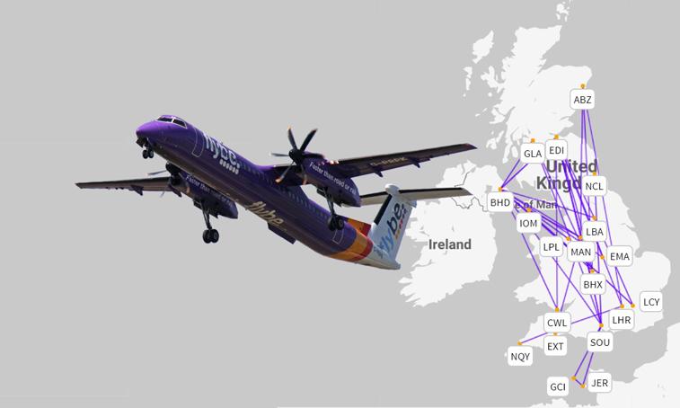 Банкротство Flybe оставляет без полётов сеть из 50 внутренних маршрутов в Великобритании, около 80 % из которых не имело конкурентов.